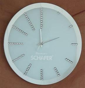 Spiegel Mit Uhr : design glas spiegel milchglas wanduhr uhr mit kristall steinen strass neu ebay ~ Orissabook.com Haus und Dekorationen