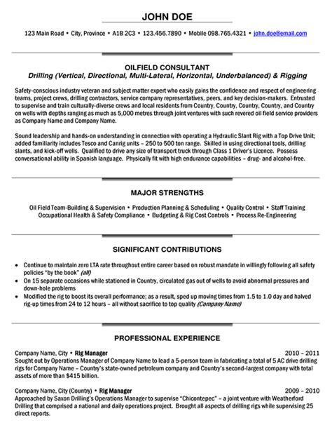 rig manager resume sample expert oil gas resume