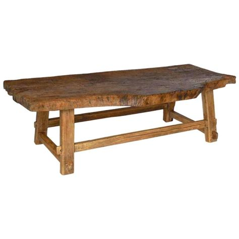 live wood coffee table one wide board elm wood coffee table with live edge at 1stdibs