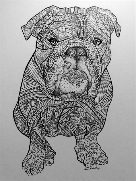 Zentangle drawing of Lola the bulldog. Visit www.etsy.com/shop/artisticbulldog to order a custom