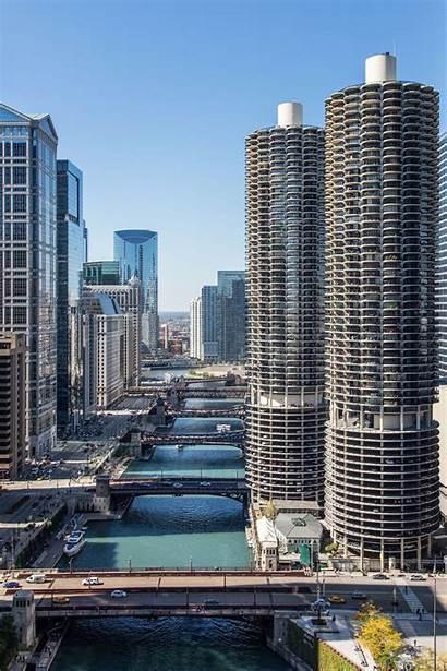Chicago Marina Architecture Buildings River Cities Illinois