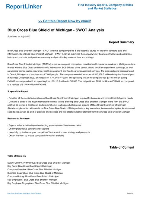 And Blue Analysis by Blue Cross Blue Shield Of Michigan Swot Analysis