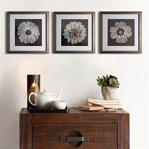Embroidered, Flower, Framed, Wall, Art, 20x20