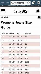 Silver Jeans Size Conversion Chart Clothing Silver