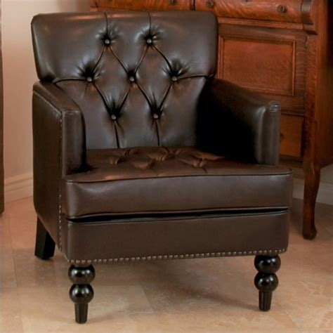 trent home leather tufted club chair in brown