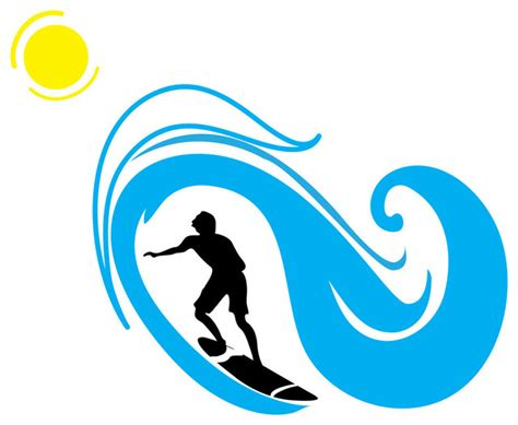 Surfer And Wave Silhouette Sports