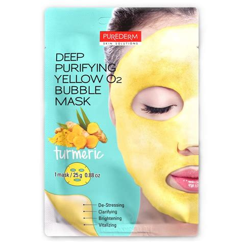 PUREDERM Deep Purifying Yellow O2 Bubble Mask 25g   LOVERTE