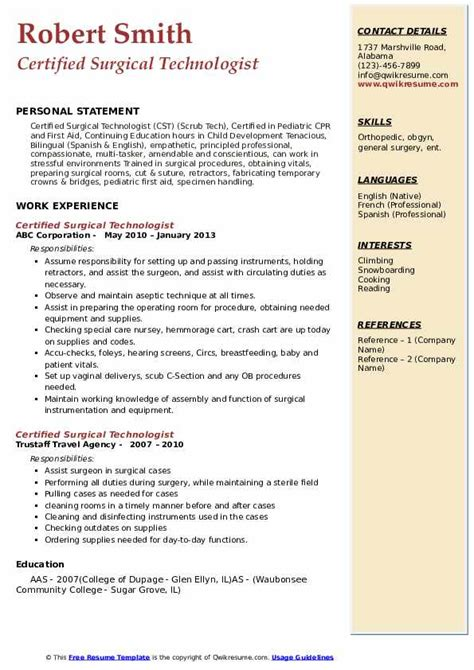 certified surgical technologist resume samples qwikresume