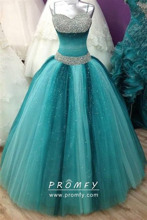 Sparkly Beaded Ombre Teal And Turquoise Tulle Ball Gown