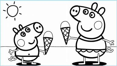 Ice Cream Coloring Pages Peppa Printable