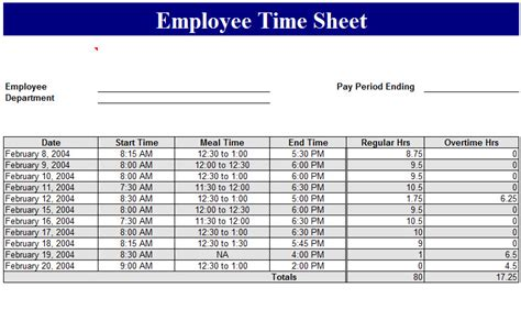 employee time sheet template  excel templates