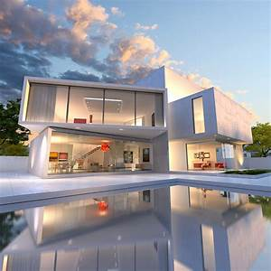 Fonds D U0026 39 Ecran Maison Manoir Design Piscine Nuage Villes 3d