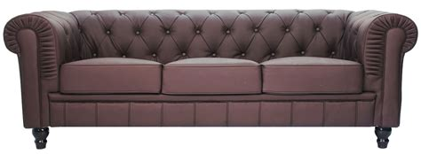Benjamin Classical 3 Seater Pu Leather Sofa (dark Brown