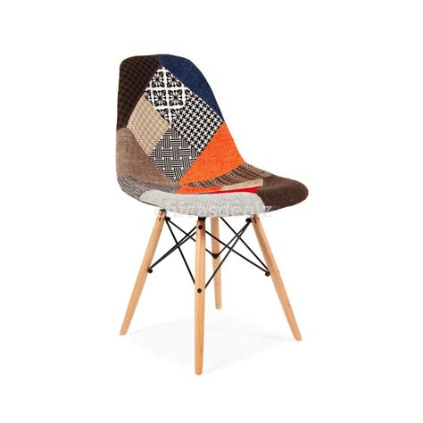 chaise eames patchwork set of 4 modern eames dsw style patchwork upholstered