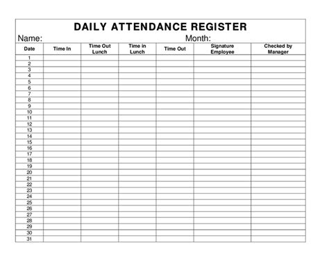 Day Sheet Template Daily Attendance Register Hashdoc