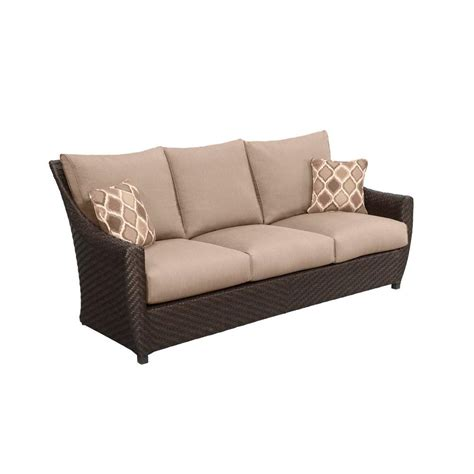 brown northshore patio sofa with harvest cushions