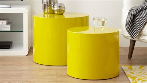 Shop for the markel yellow coffee table at eurway modern furniture + get free shipping on orders over $75. Pebble Mustard Yellow Gloss Side Tables   Danetti