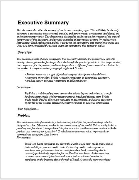 executive summary templates  ms word format