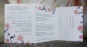 carolina blue pink navy flowers swirls vines all in With carolina blue wedding invitations