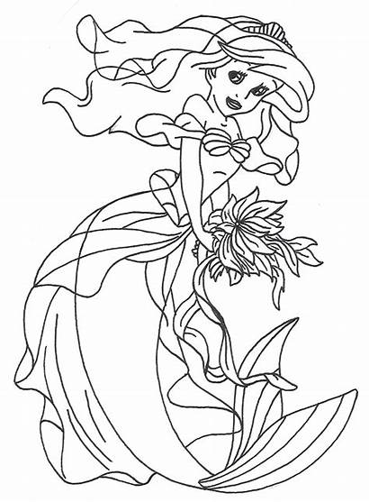Princess Pages Ariel Coloring Mermaid Disney Lineart
