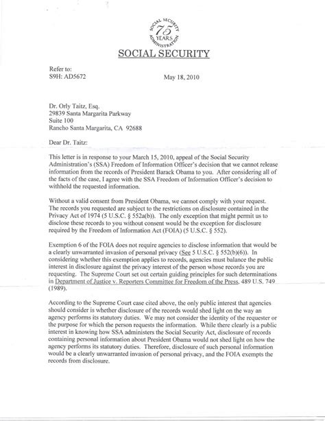 social security letter new pleadings filed today in taitz v obama judge royce