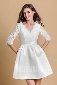 robe de cocktail blanche courte col en v avec manche With robe manche courte col v