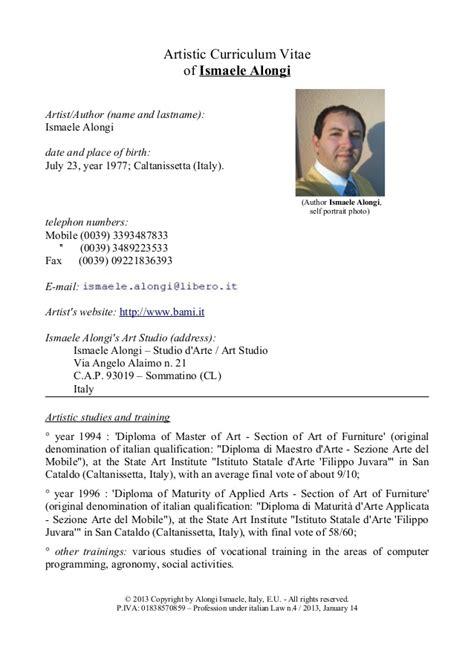 Curriculum Vitae Translation by Ismaele Alongi Artistic Curriculum Vitae Updated 2013 1