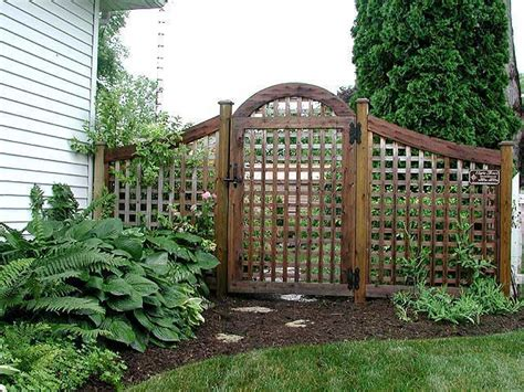 arched garden square lattice fence and gate