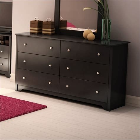 Black Dresser 6 Drawer by South Shore Breakwater 6 Drawer Black Finish