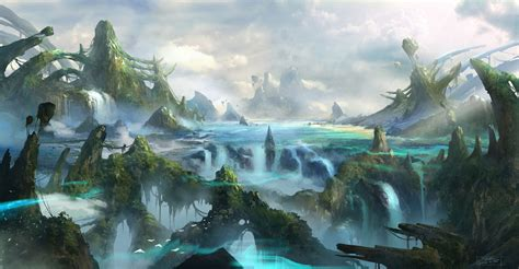 art watercolor paint dark fantasy painting landscape