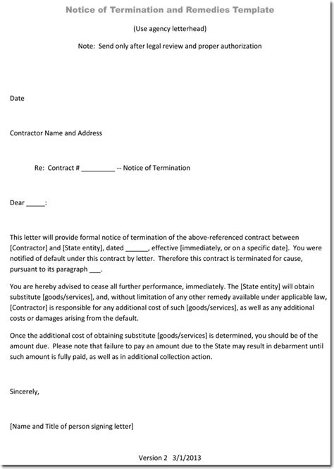 termination letter template termination letter sles 4 daycare termination letter 25073