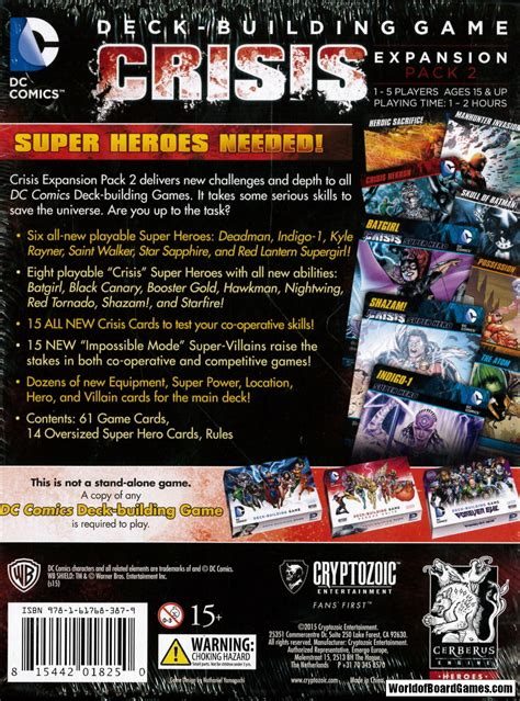 Dc Deck Building Expansion 2 by Dc Comics Deck Building Crisis Expansion Pack 2 Exp