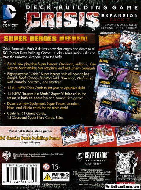 dc comics deck builder expansion dc comics deck building crisis expansion pack 2 exp