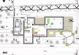 plan dune maison sur un terrain en pente maison moderne With plan maison terrain en longueur
