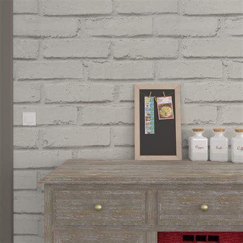 cuisine blanc et gris papier peint vinyle loft brique coloris gris perle gris