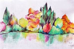 Abstract landscape - Original colored pencil drawing 5.5 x ...