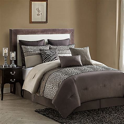 king comforter sets bed bath and beyond buy vcny mali 9 california king comforter set in brown from bed bath beyond