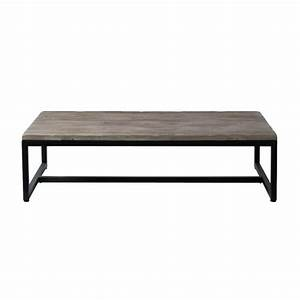 wood and metal industrial coffee table w 129cm long island With maison du monde tables