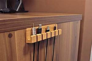The Handmade Wooden Desk Cable Organizer I WANT