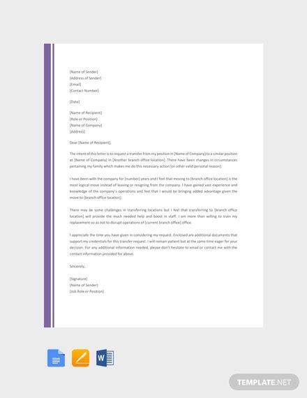 job transfer letter template   letters