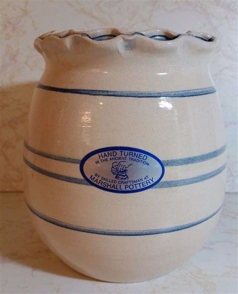 Texas marshall pottery cobalt blue lines crock by master ...