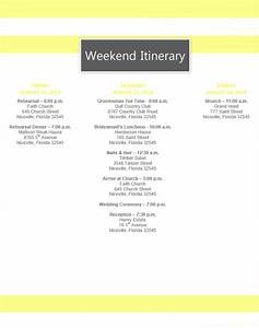 Destination wedding itinerary template for Bridal shower itinerary template