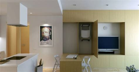 small apartment with foldaway features showme design