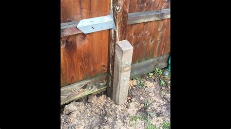 Garden Fence Post Repair Using A Concrete Spur