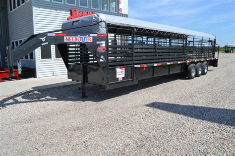 """4 state trailers is your oklahoma trailer dealer with new and used trailers in fairland, ok. 2016 Neckover 6'8""""x32' Stock Trailer w/Lifetime Rubber ..."""