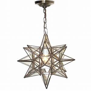 Moravian star pendant chandelier small clear glass by