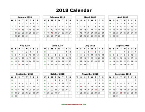 2018 Calendar Template Yearly Calendar 2018 Weekly Calendar Template