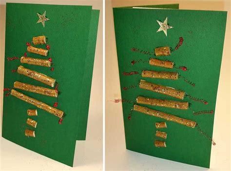 weihnachtskarte selber machen tannenbaum aus stoecken