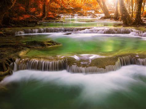 thailand cascade waterfall  kanchanaburi deep  forest