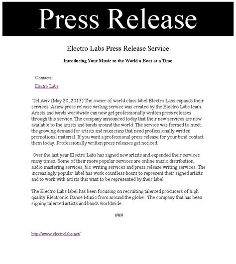Press Release Writing Service  Electro Labs